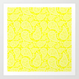 Paisley (White & Yellow Pattern) Art Print