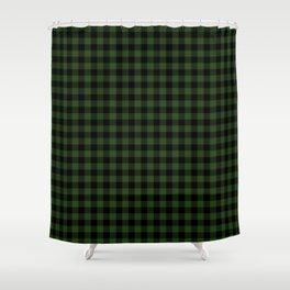 Dark Forest Green and Black Gingham Checkcom Shower Curtain