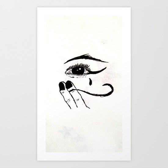 black and white eye Art Print