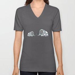 Grey elephants Unisex V-Neck