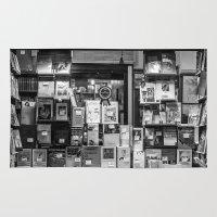 italian Area & Throw Rugs featuring Italian Bookshop by Zeno Photography