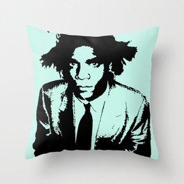 BASQUIAT ON TEAL Throw Pillow