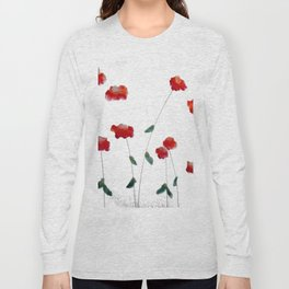 Red flowers in the snow Long Sleeve T-shirt