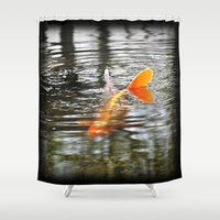 koi fish Shower Curtains featuring Koi Fish by Aldari Photo