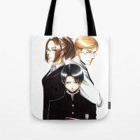shingeki no kyojin Tote Bags featuring OriSor Shingeki No Kyojin High School Fanart by Mistiqarts by Mistiqarts