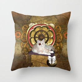 Steampunk, cute cat Throw Pillow