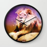 lion king Wall Clocks featuring King Lion by SwanniePhotoArt