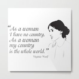 Virginia Woolf Feminist Quote Metal Print