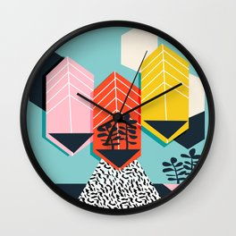 Legit - throwback 80s style memphis neon texture art print pop art dorm college hipster trendy urban Wall Clock