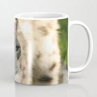 snow leopard Mugs featuring Snow Leopard by Sean Foreman