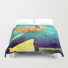 Beautiful Sea Turtles Under The Ocean Painting Duvet Cover