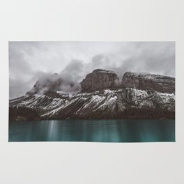 Landscape Maligne Lake Mountain View Photography | Alberta | Canada Rug