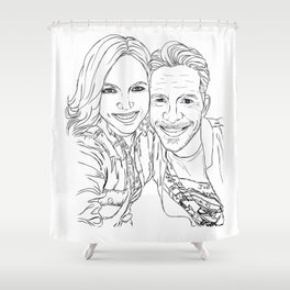Sean and Lana Enchanted selfie (outline) Shower Curtain