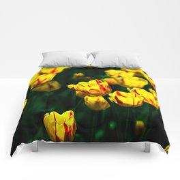 Yellow tulip flowers Comforters