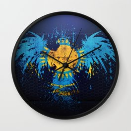 Kazakhstan flag grunge art Kazakh flag eagle flag of Kazakhstan symbolism of Kazakhstan Wall Clock