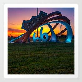 Route 66 Rising Sunrise 1x1 - Tulsa Oklahoma Art Print
