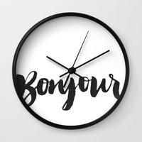 bonjour Wall Clocks featuring bonjour by Matthew Taylor Wilson