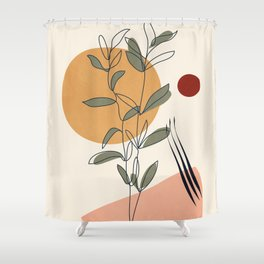Minimal Line Young Leaves Shower Curtain