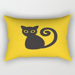 Black vector cat with orange eyes Rectangular Pillow