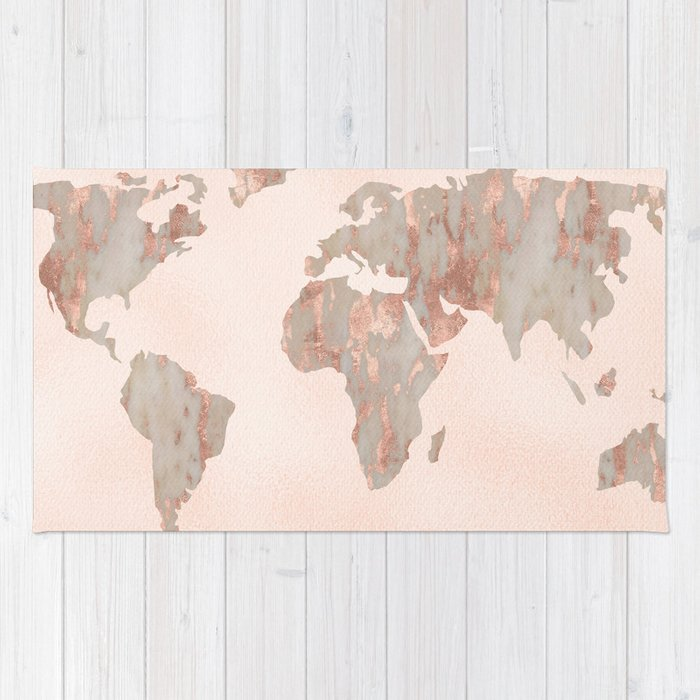 rosegold marble map of the world rug