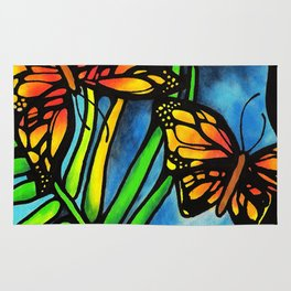 Beautiful Monarch Butterflies Fluttering Over Palm Fronds by annmariescreations Rug