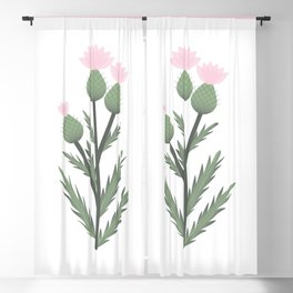 Soft Pink Thistle Blackout Curtain