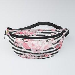 Vintage blush pink floral black white stripes Fanny Pack