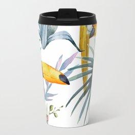 Big Tropical Pattern Toucans Parrot Pineapples Travel Mug