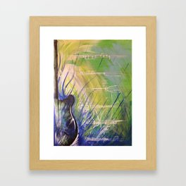 Green Guitar Framed Art Print