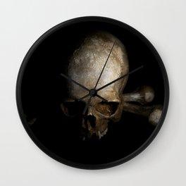 Male skull with bones Wall Clock