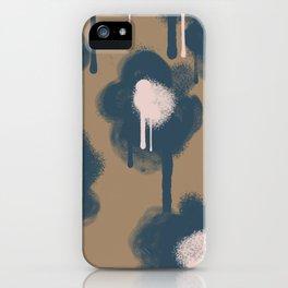Large Graffiti Flowers Navy iPhone Case