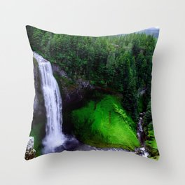 Nature Landscape Photogrsphy of waterfall into the woods Throw Pillow