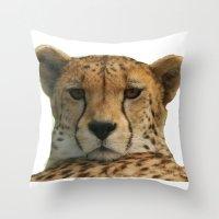 cheetah Throw Pillows featuring Cheetah by Sean Foreman