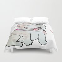 bulldog Duvet Covers featuring Bulldog by Daynasdoodleydoos