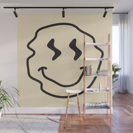 Wonky Smiley Face - Black and Cream Wall Mural