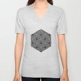Black And White Op-Art Triangle Pattern Unisex V-Neck
