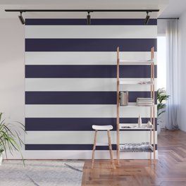 Dark eclipse Blue and White Wide Horizontal Cabana Tent Stripe Wall Mural
