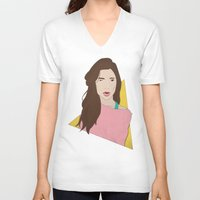 80s V-neck T-shirts featuring 80s Gal by Levi Allred