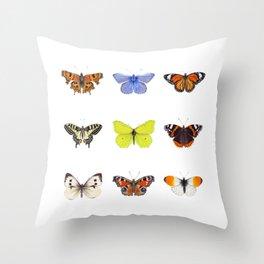 Set of Butterflies, Watercolor Butterflies, butterfly painting Throw Pillow