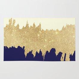 Navy blue ivory faux gold glitter brushstrokes Rug