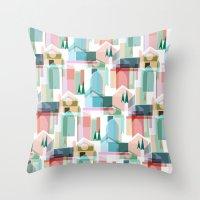 bath Throw Pillows featuring Bath by Coral Elizabeth Design