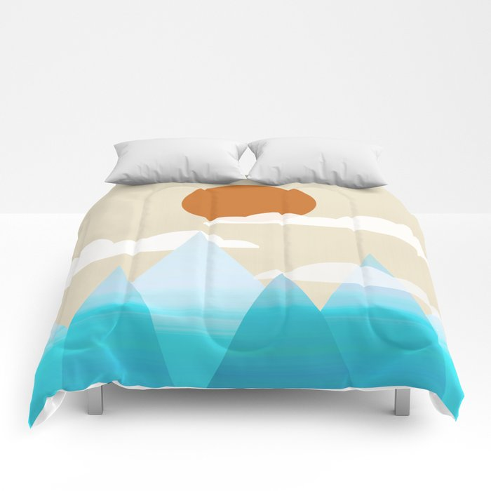 Sun, Clouds and Mountains Comforters
