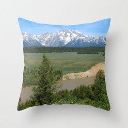 Snake River And Grand Teton Range Throw Pillow