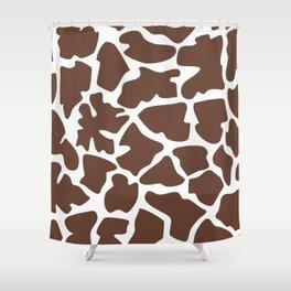 Animal Print (Giraffe Pattern) - Brown White Shower Curtain