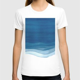 Watercolor blue waves T-shirt