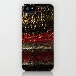Bold Striped Black Red and Gold Textured Painting iPhone Case