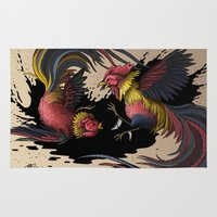 cock Area & Throw Rugs featuring Cock Fight by Ashley Jones