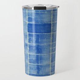Blue abstract urban wall Travel Mug