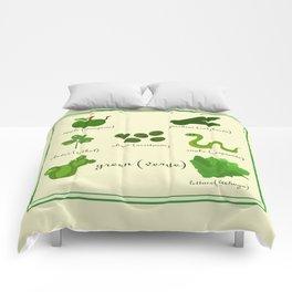 Colors: green (Los colores: verde) Comforters
