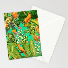 Vintage & Shabby Chic - Colorful Tropical Birds Flower Garden Stationery Cards